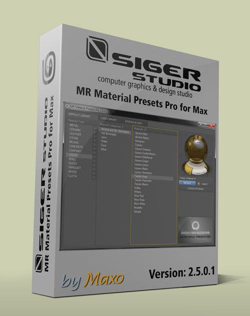 SIGERSHADERS MR Material Presets Pro Ver. 2.5.0.1 for 3Ds Max 2010 - 2013 x32/64bit