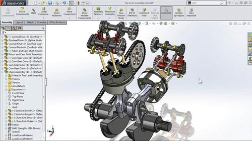 Modeling a Motorcycle Engine with SolidWorks