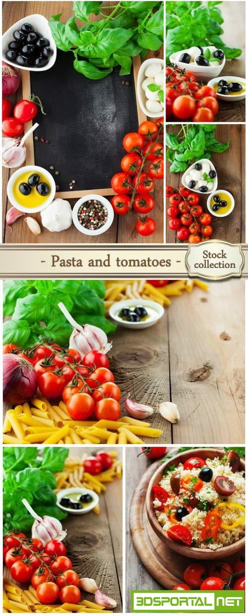 Pasta and tomatoes - Stock Photo