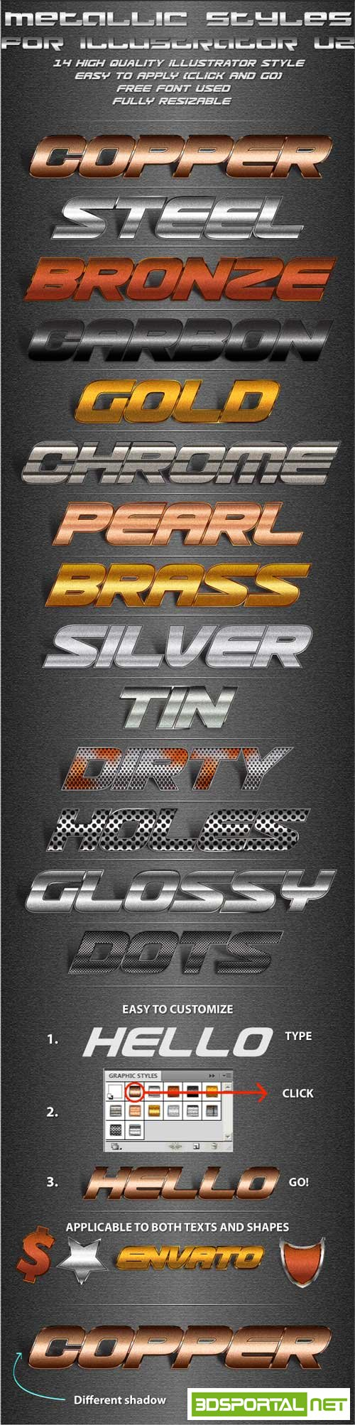 Graphicriver -  Metallic Styles for Illustrator V2