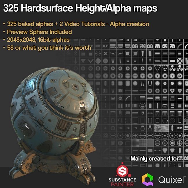 Gumroad - SP Quixel 325 Hardsurface Height Alpha plus Tutorials