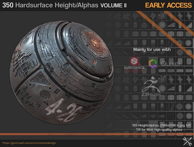 Gumroad - 350 Hardsurface Height/Alpha Vol 2 - UPDATE 03