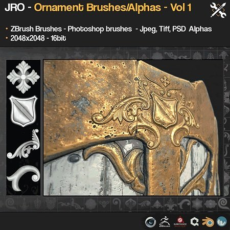 Gumroad - 55 Ornament Brushes + alpha/height maps - Vol1